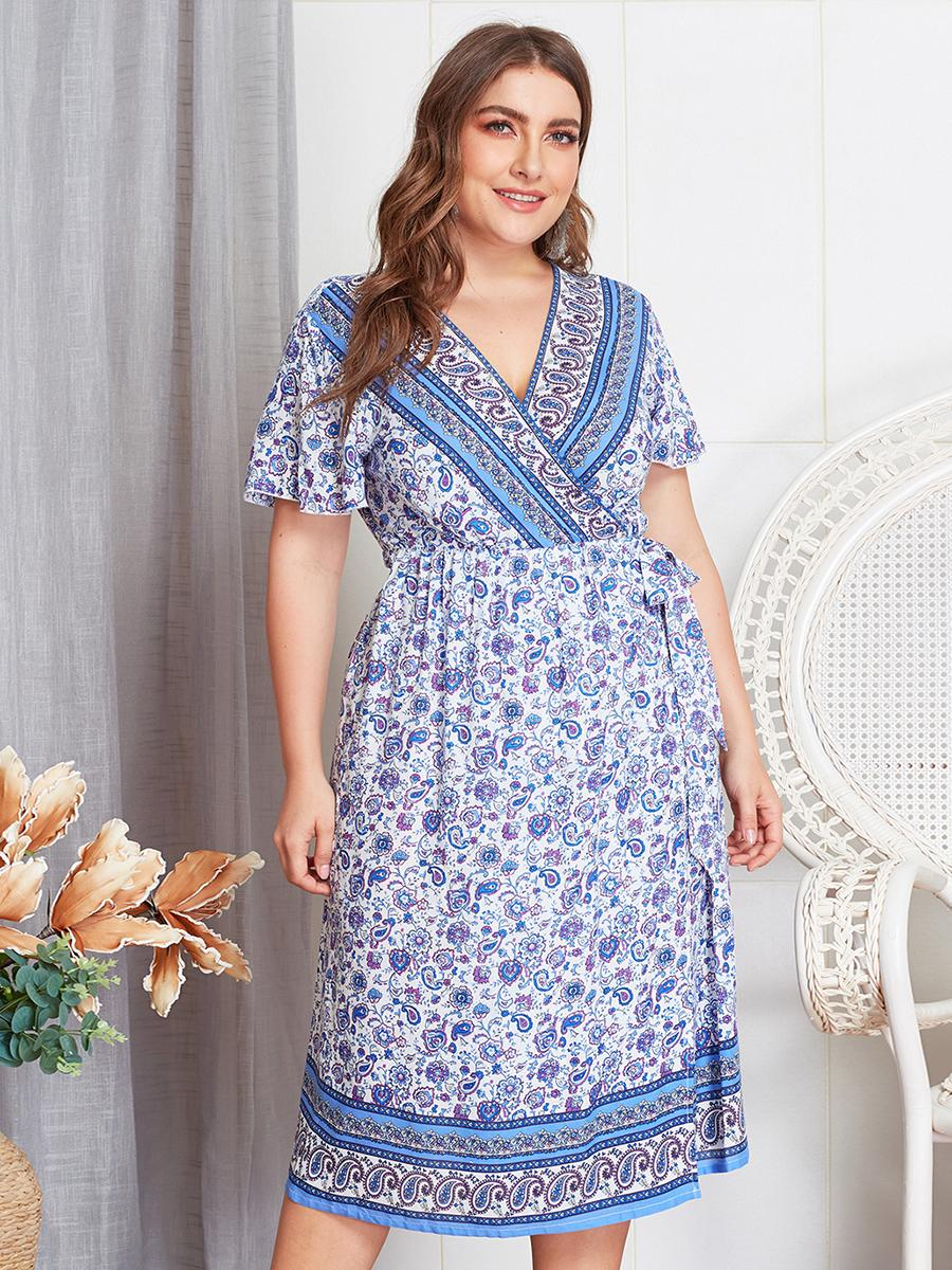 Summer Dresses Women Ladies Casual Plus Size V-Neck Short Sleeve Ethnic Style Beach Wear Holiday Tropical Party Boho Midi Dress