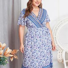 Summer Dresses Women Ladies Casual Plus Size V-Neck Short Sl