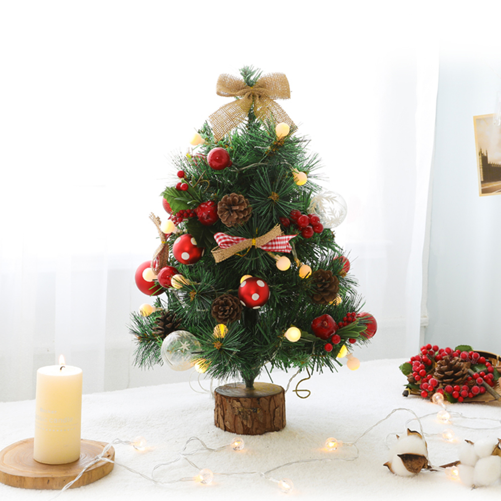 Pine Leaf Mini Christmas Tree and Ball LED Lights String Home Decoration Battery Operated Fairy Lights Indoor Street Garlands