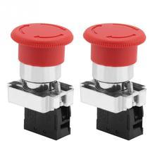 цена на 2PCS/Lot Red Sign Emergency Stop Switch Button 22MM XB5 240V-3A Emergency Stop Switch Emergency switch Hot Sale
