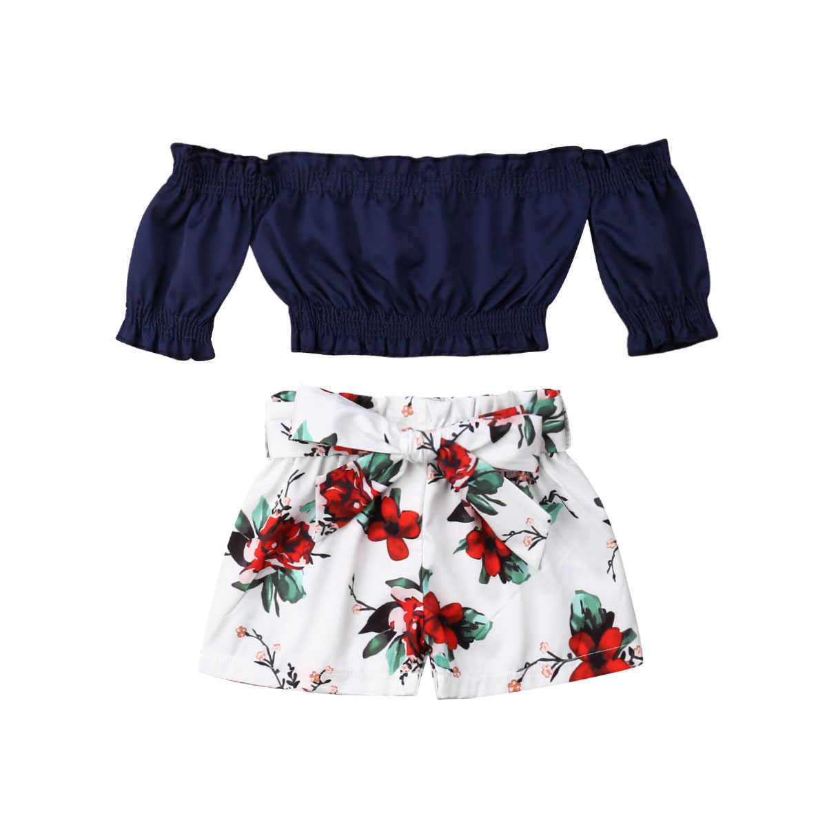e6678c2107ca ... Boutique girl clothes Toddler Kids Baby Girl Flower Off Shoulder Crop  Tops Shorts Outfits Sunsuit 1 ...