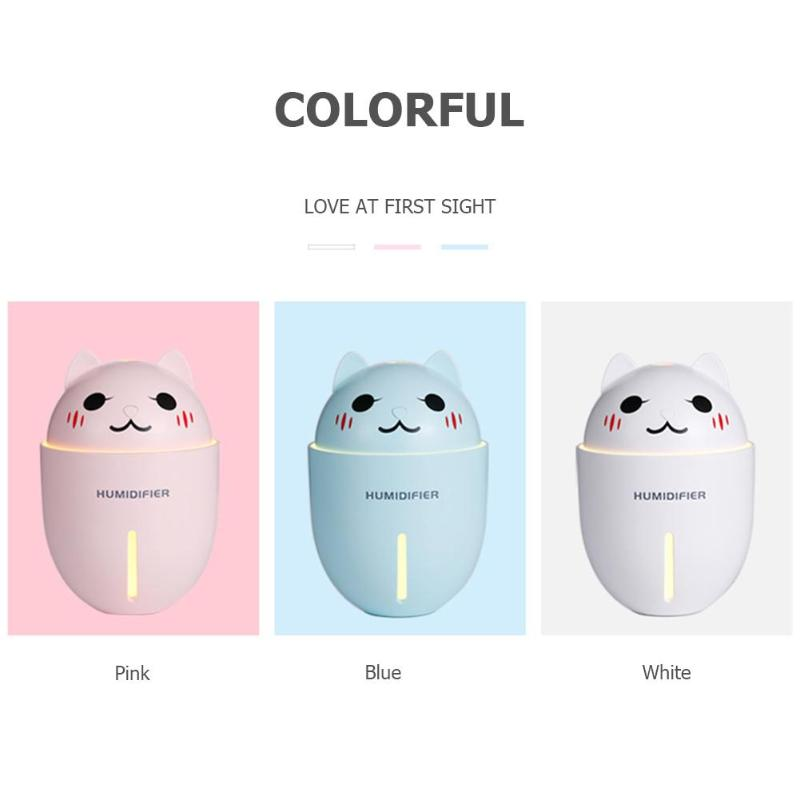 320ml 3 in 1 Ultrasonic Air Humidifier Aroma Diffuser Cat Shape Aroma Essential Oil Diffuser Fogger Mist Maker with Night Lights