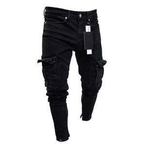 Image 2 - Moda męska Skinny Denim zniszczone postrzępione ołówkowe spodnie Vogue męskie kieszenie Slim Fit Cargo spodnie spodnie do biegania