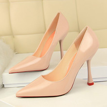 Patent Leather High Heels Red Sexy Women Shoes Pointed Toe Thin Heels Shoes Woman Pink Black Silver Female Shoe Size 40 DS-A0146 fashion women pointed toe chunky high heels sexy patent leather shoes women pumps lazy shoe pink black red silver wedding heels