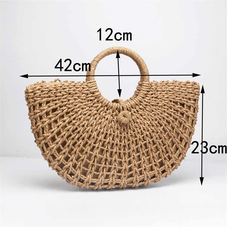 Sac de paille papier corde seau rond creux tissé sac rétro ceinture décontractée boucle sac à main