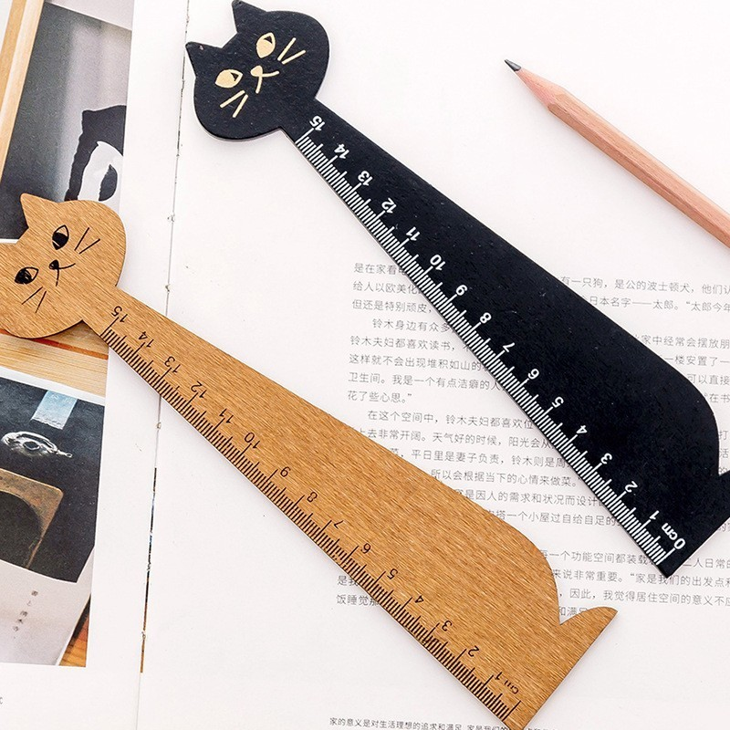 1PCS Korea Wood Straight Ruler Black Yellow Lovely Cute Cat Shape Ruler Gift For Kids School Office Supplies Stationery 06002