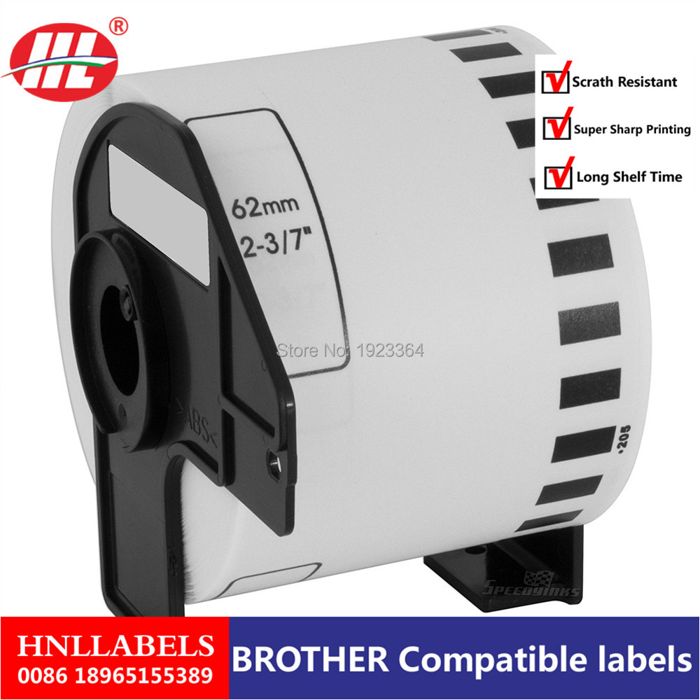 1X Rolls Brother Compatible Labels DK-22205, 62mm X 30.48m, Adhesive Sticker Continuous Labels, DK 22205, DK 2205