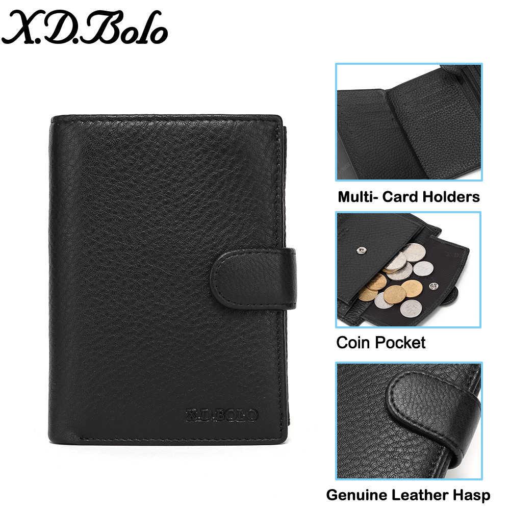 X.D. Bolo Luxe 100% Echt Lederen Portemonnee Mode Korte Mannen Wallet Casual Soild Mannen Portefeuilles Met Broekzak Portemonnees Mannelijke