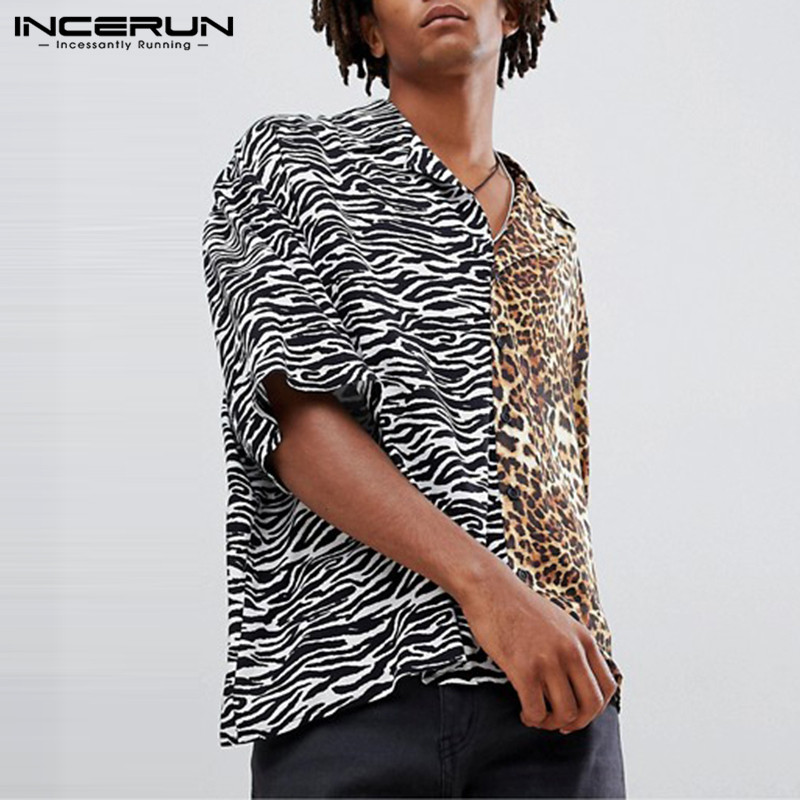 INCERUN 2019 Short Sleeve Animal Leopard Printed Shirt Men Lapel Neck Streetwear Patchwork Cool Fashion Shirt Men Camisa S-5XL