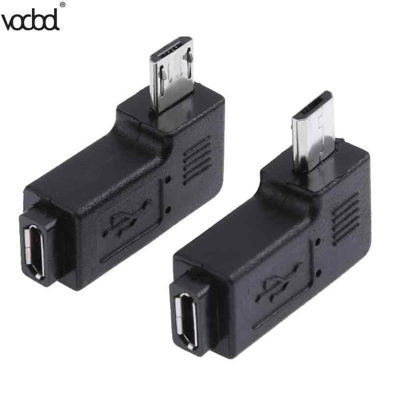 2 Pcs/lot 90 Derajat USB Kiri & Kanan Siku Micro 5pin Female Ke USB Mikro Male Data Adaptor untuk Mini konektor USB Plug Micro USB
