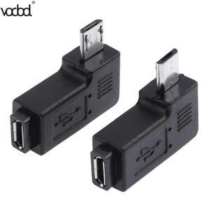 Image 1 - 2 pçs/lote 90 graus usb esquerda & direita angular micro 5pin fêmea para micro usb adaptador de dados macho para mini conector usb plug micro usb