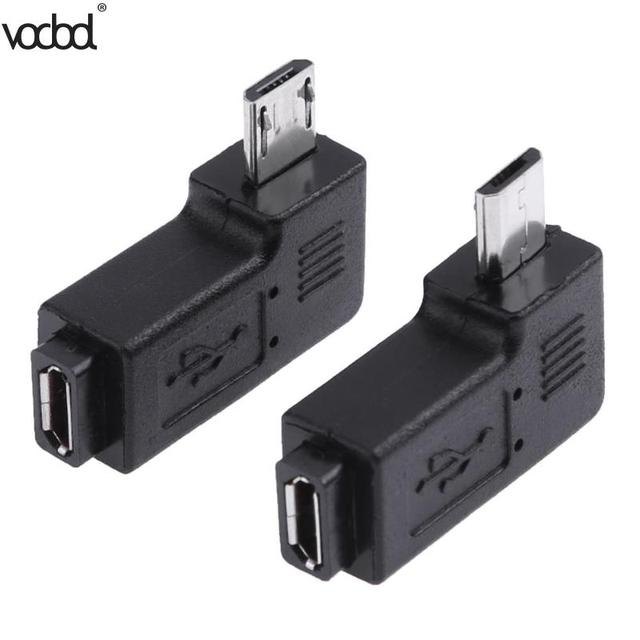 2 pçs/lote 90 graus usb esquerda & direita angular micro 5pin fêmea para micro usb adaptador de dados macho para mini conector usb plug micro usb