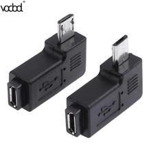 2pcs/lot 90 Degree USB Left & Right Angled Micro 5pin Female to Male Data Adapter To Mini Connector Plug