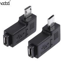 Adaptador de datos macho a Mini USB, 2 unidades/lote, 90 grados, USB, en ángulo izquierdo y derecho, Micro conector hembra a Micro USB de 5 pines, Conector Micro USB