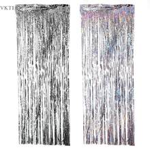 2M Silver/Multi-color Sequin Foil Curtain Rain Fringe Tassel Wedding Backdrop Birthday Party Decoration for Anniversary Decor(China)
