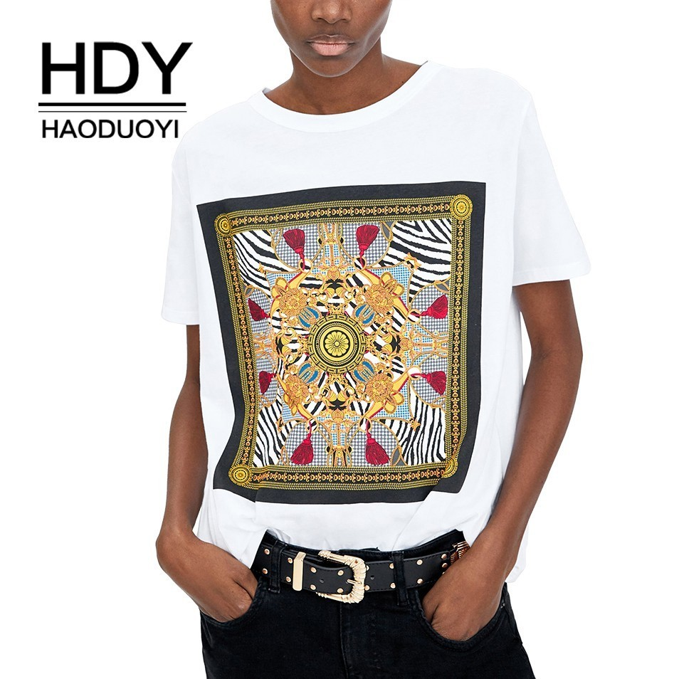 HDY Haoduoyi 2019 Summer New T shirt Simple Relaxed Casual Round Neck Print Short Sleeve in T Shirts from Women 39 s Clothing