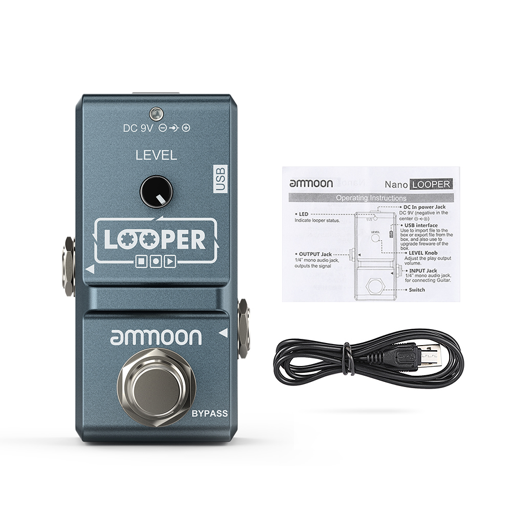 Ammoon AP-09  Nano Loop Guitar Effect Pedal Looper Electric Guitar Pedal Unlimited Overdubs 10 Minutes Recording With USB Cable