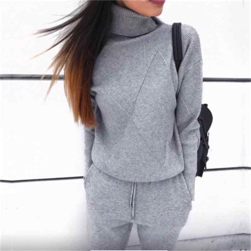 秋と冬の爆発スポーツウェア高襟セーターニットパンツスーツカジュアル女性のツーピーススーツ