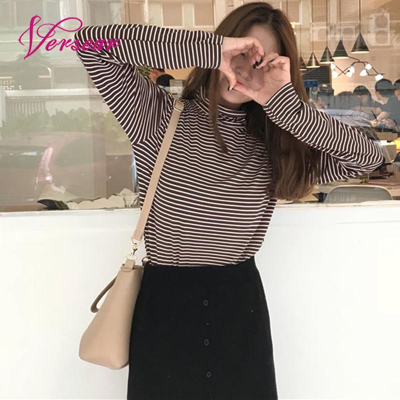 2019 Korean Style Spring Women Long Sleeves T-shirt Striped Turtle Neck Solid Tees Casual Shirts Basic Pullover Harajuku Tops