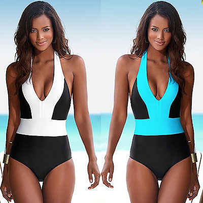 One Piece Swimsuit Bandage For Women White Blue Patchwork Color Monokini Swimwear Bathing Suit Backless Tankini S-XL