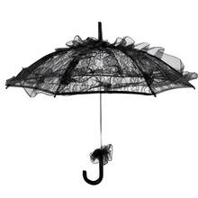Black Color Lace Umbrella Parasol Household Rain Gear Creative Transparent Long Handle Lady Women Party Decor(China)