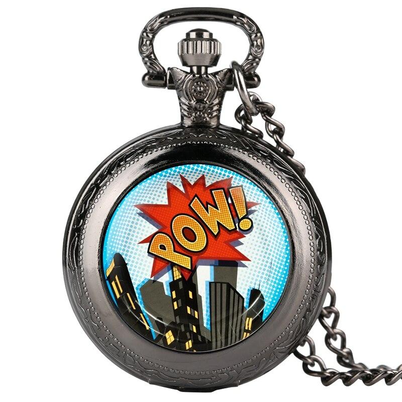 Superhero Comics 8 Guest Party Pack Quartz Pocket Watch POW City Building Pattern Necklace Watch Chain Pendant Men Women Gifts