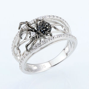Image 2 - SANTUZZA bague en argent pour les femmes véritable 925 en argent Sterling anneaux uniques délicat noir araignée anneau à la mode fête bijoux de mode