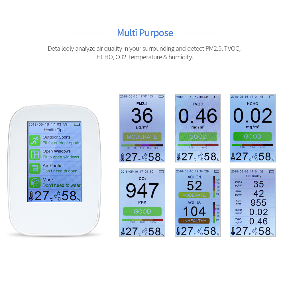 D9-H Multifunctional Air Quality Detector Indoor Outdoor HCHO TVOC Tester CO2 Meter Monitor Tester For Smart Home