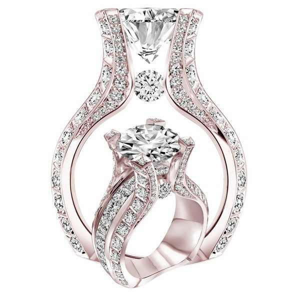 正方形 14 18kローズゴールドダイヤモンドリングanillosデ婚約バゲまたはjauneためbizuteria女性ディアマンテアメジストジュエリーリング 2019