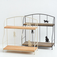 Cute Desigen Double Tiers Iron Shelf Kitchen Tools Holder Living Room Bedroom Small Sundries Storage Holder Racks Home Organizer