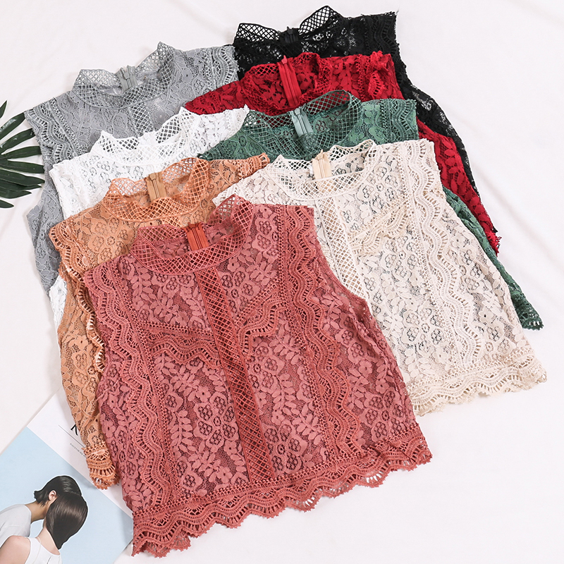 Summer Women Fashion Crochet Lace   Tank   Vest Ladies Sexy Hollow Out Lacework Floral Straight Sleeves Stand Collar Crop   Top
