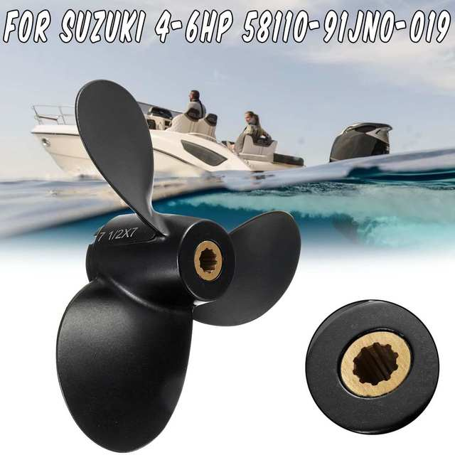 US $21 66 20% OFF|7 1/2 x 7 Boat Propeller 58110 91JN0 019 For Suzuki  Outboard Engine 4 6HP 3 Blades R Rotation Aluminum Alloy 10 Spline  Tooths-in