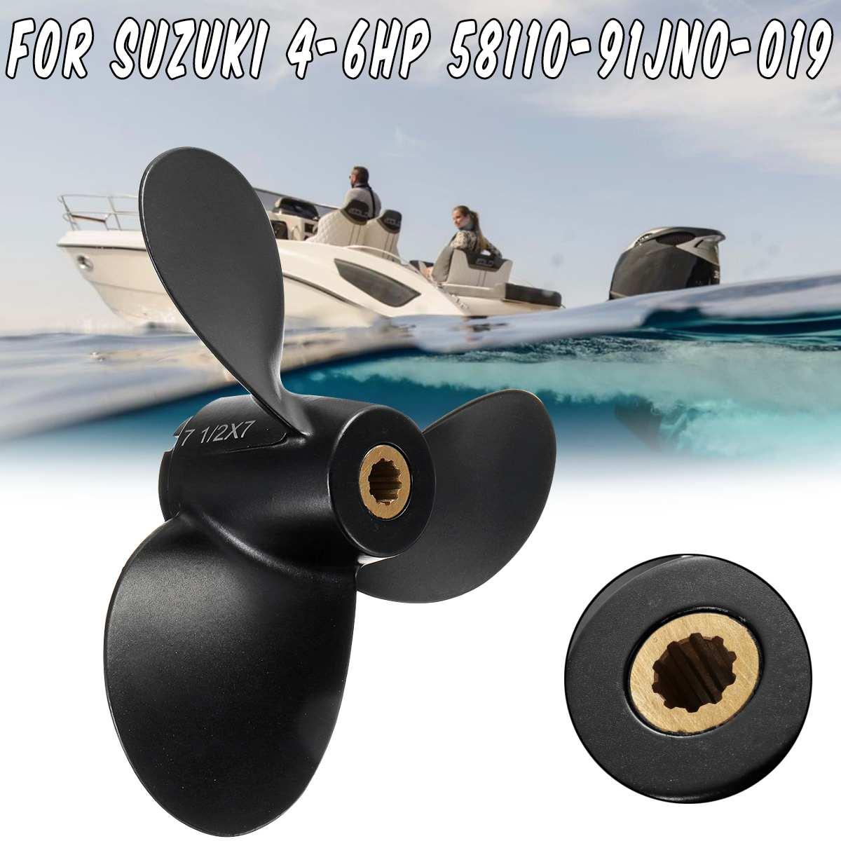 7 1/2x7 Boot Propeller 58110-91JN0-019 Für Suzuki Außenbordmotor 4-6HP 3 Klingen R Rotation Aluminium Legierung 10 Spline tooths