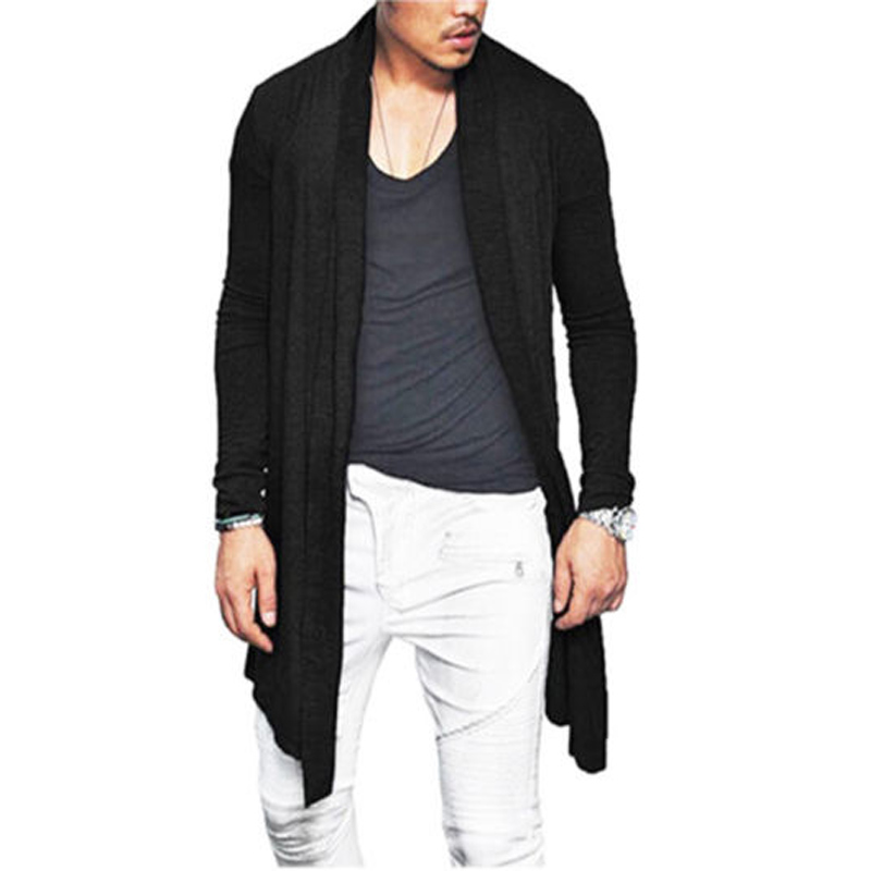 Men Long Wrap Cardigan Open Stitch Solid Jacket Jumpers Casual Loose Coat Wrap Tops Outwear Autumn Long Sleeve Male Coat Tops
