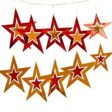 Merry Christmas Heart Five Pointed Star Shaped Cutout Pendant Ornament Door Hanging