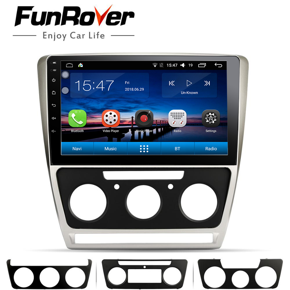 FUNROVER android 8.0 2 din car dvd gps multimedia player For Skoda Octavia 2008 2013 A 5 A5 Yeti Fabia navigation radio stereo