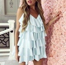 цена на Women Ruffle Mini Dress Casual Short Backless Dress V Neck Solid Sexy Dress