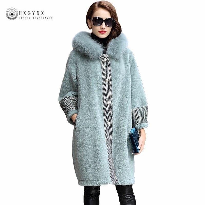 Manteau en laine véritable perles Long mouton Shearling veste femmes épais chaud hiver manteaux naturel fourrure de renard vêtements d'extérieur à capuche 2019 Okd695