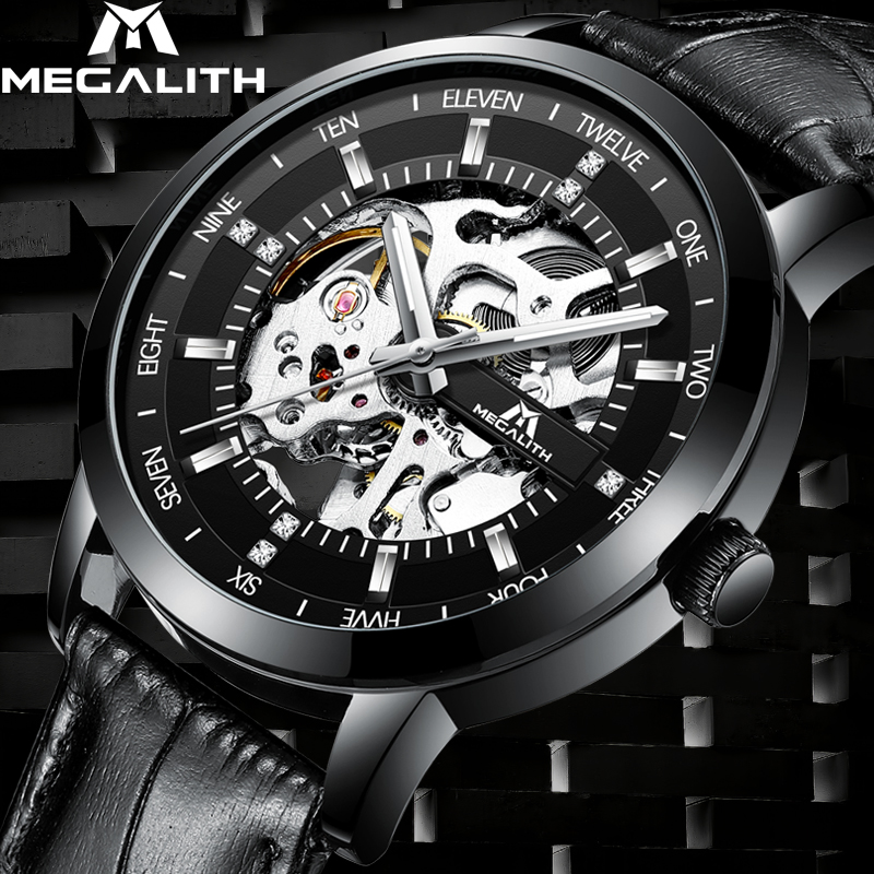 MEGALITH Men Watches Top Brand Luxury Skeleton Automatic Watch Men Waterproof genuine Leather Mechanical Wrist Watch ClockMEGALITH Men Watches Top Brand Luxury Skeleton Automatic Watch Men Waterproof genuine Leather Mechanical Wrist Watch Clock