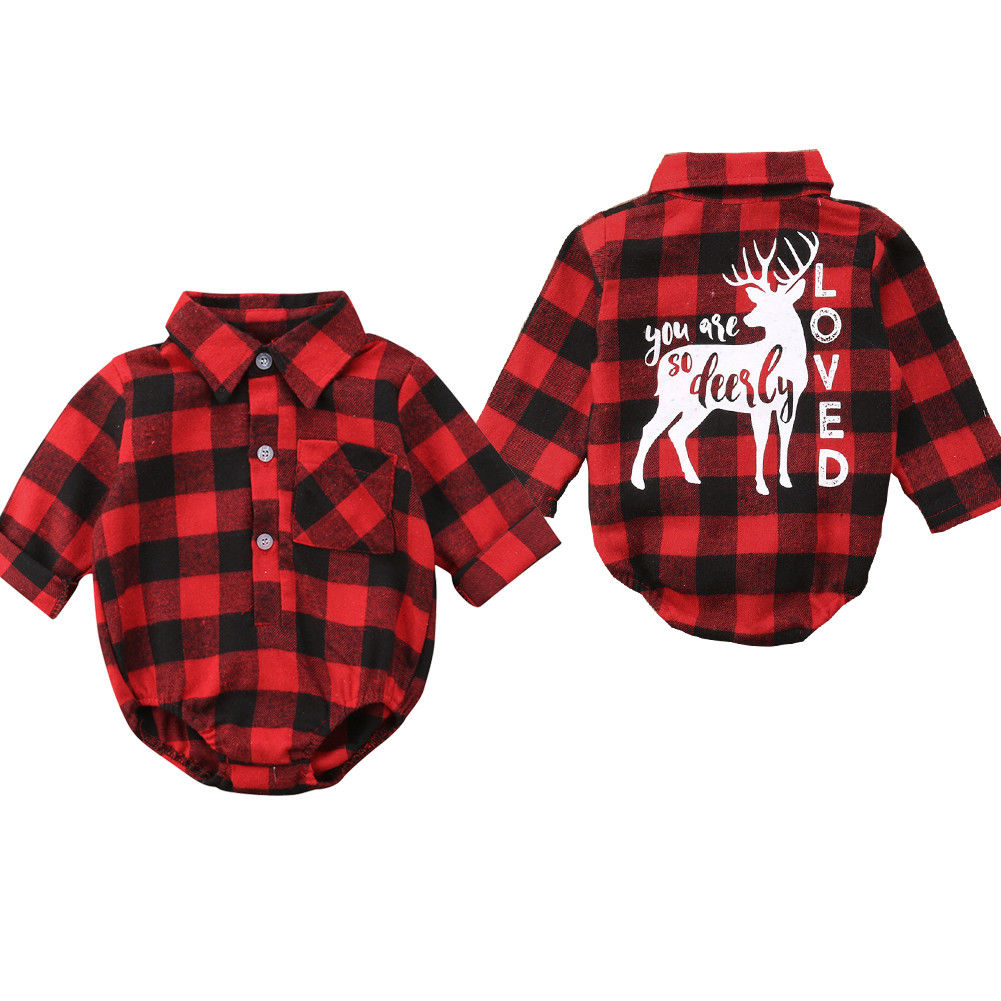 Christmas Kids Newborn Baby Girl Boy Elk Romper Bodysuit Jumpsuit Outfit Clothes Girl Boy Plaid Check  Elk Romper