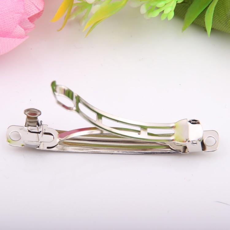 50pcs lots Wholesale Basic Spring Hairpin DIY Three Plates Findings Platinum Stainless Steal Pinch Cock Hair Charms Accessory in Women 39 s Hair Accessories from Apparel Accessories