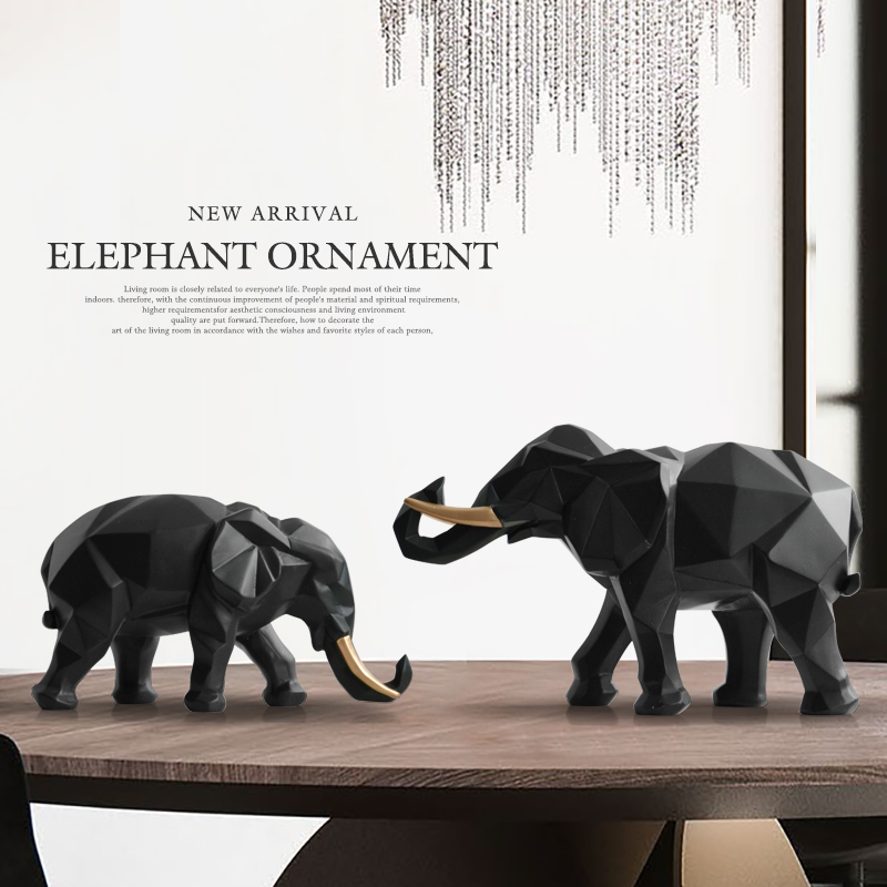 Elephant figurine 2/set resin for home office hotel decoration tabletop animal modern title=