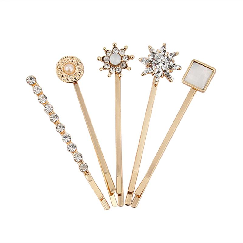 5pcs Elegant Hair Clips Attractive Metal Beautiful Fashion Barrettes Bobby Pins Hairpin Decoration For Ladies Women Girls