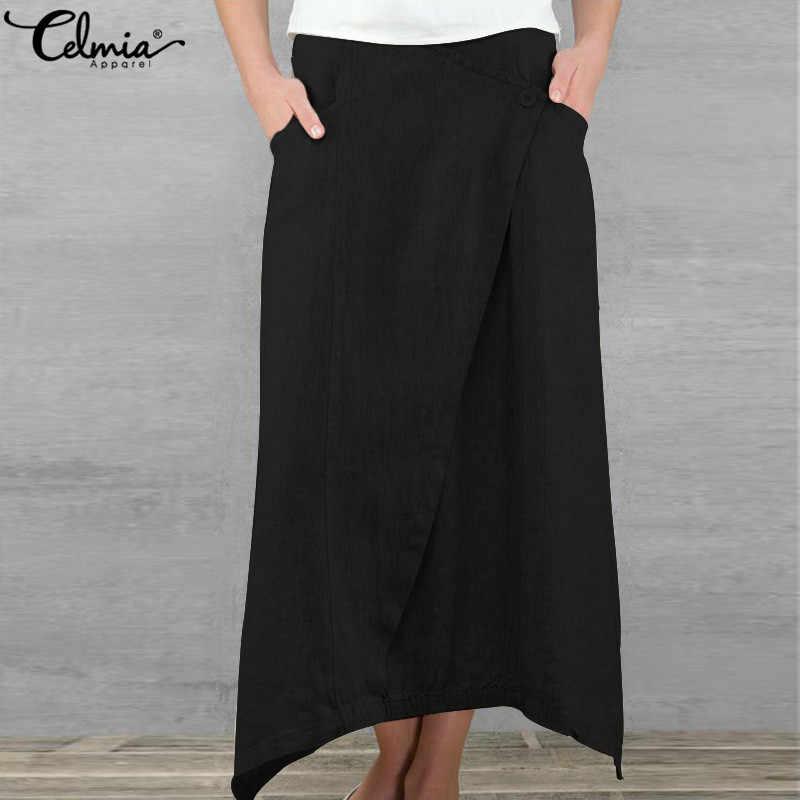 Celmia 春 5XL リネンスカートペチコートサイアファム段 faldas 2019 夏マキシスカート女性の服のカジュアル非対称レトロスカート