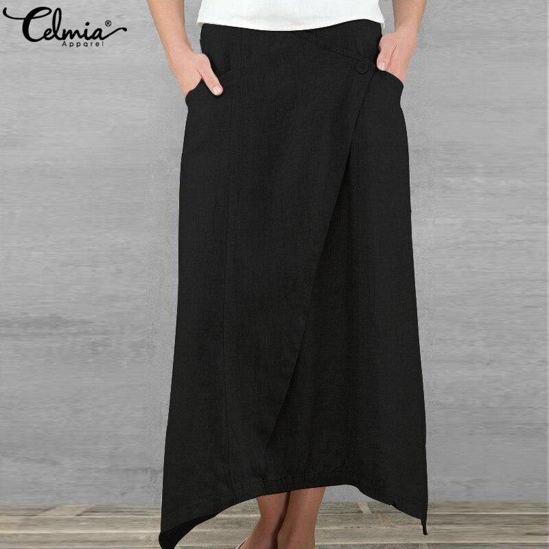 Celmia Spring 5XL Linen Skirt Jupe Saia Femme Faldas 2019 Summer Maxi Skirt Women Clothing Casual Loose Asymmetrical Retro Skirt