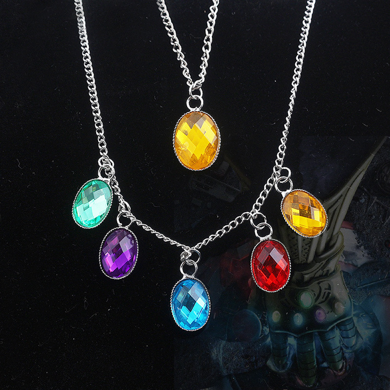 Infinity Gauntlet Cosplay Accessory Endgame Infinity Stones Necklace Thanos Cos Relity Stone Tesseract Halloween Kid Gift