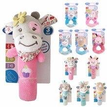 Купить с кэшбэком Newborn Baby Toys 0-12 Months Cartoon Animal Owl/Elephant Baby Boy Girl Rattles Hand Bell Sound Infant Toddler Plush Toys