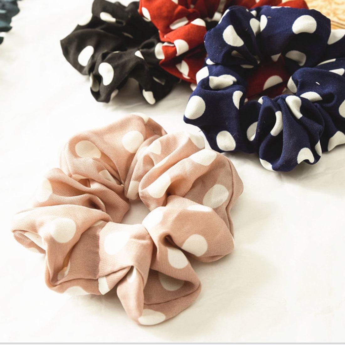 1PC Women Girls Elastic Hair Rope Ring Tie Scrunchie Ladies Chiffon Polka Dot Ponytail Holder Hairband Headwear Hair Accessories in Women 39 s Hair Accessories from Apparel Accessories