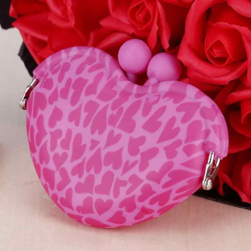 الأزياء الإناث صغيرة محفظة نسائية للعملات المعدنية أكياس الحلو النساء الفتيات سيليكون البسيطة القلب كليب مفتاح عملة حامل بطاقة محفظة الاطفال هدايا