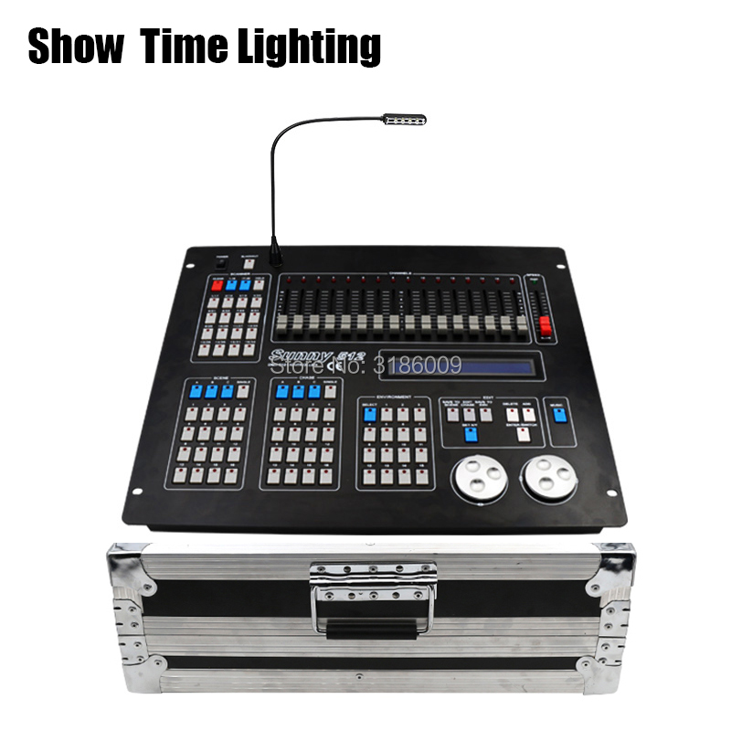SHOW TIME New Sunny 512 DMX Controller With Flycase Stage Light DMX Master Console Flight Box For XLR-3 Led Par Beam Moving Head